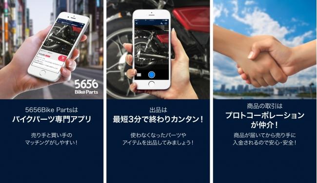 プロトコーポレーション、バイクパーツ専門フリマアプリ「5656BikeParts」を開始